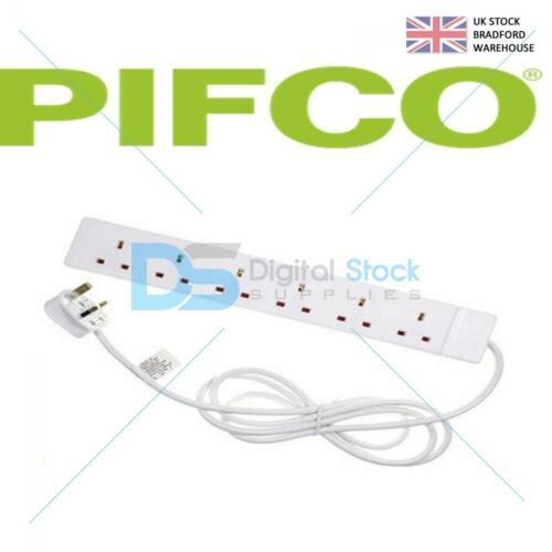 Pifco 6 gang Extension Lead Câble 2 m UK Socket Power Secteur Plug