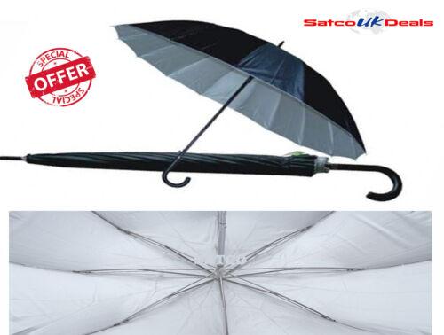 "33/"" Large Umbrella Auto Open Rain Wind Resistant Men Women Silver Funeral Studio"