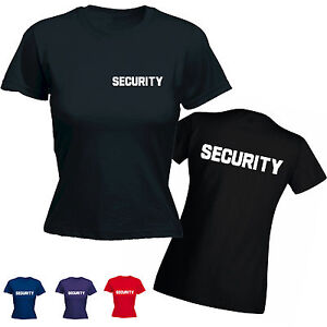Security WOMENS T-SHIRT bouncer doorman uniform fancy dress mothers ... 158109f2ef