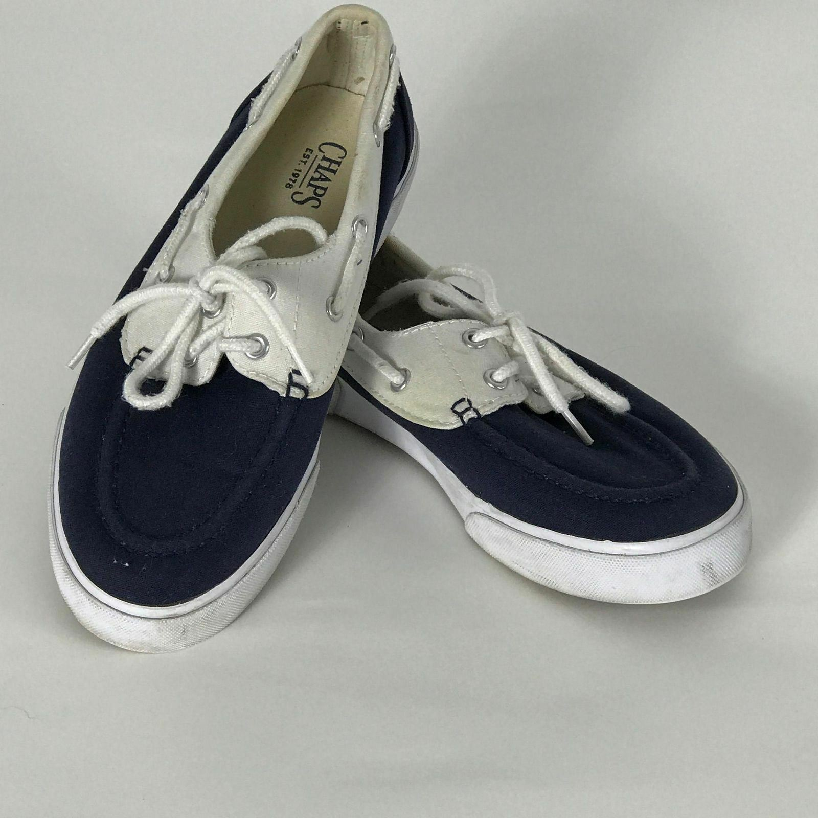 Chaps Size 7B Navy & White Canvas 360 Laces Tie Sneakers Boat shoes