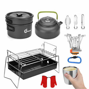 Camping Cookware Mess Kit Grill Stove Pot Pan Kettle Fork Spoon Cup Backpacking