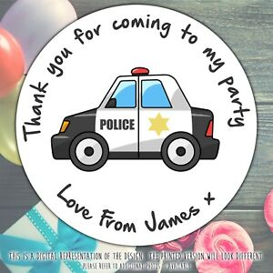 Personalised-Police-Car-Birthday-Party-round-stickers-labels-party-cone-sheet