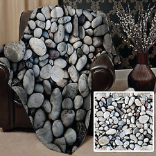PEBBLES ALL OVER DESIGN SOFT FLEECE THROW BLANKET GREAT GIFT IDEA L&S PRINTS