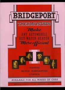 1936 Bridgeport Automobile Thermostat Super Rare Original Retro Dealer Brochure