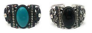 Rhinestone-Concho-Flower-Cuff-Bracelet-Western-Aztec-Jewelry-Turquoise-Black