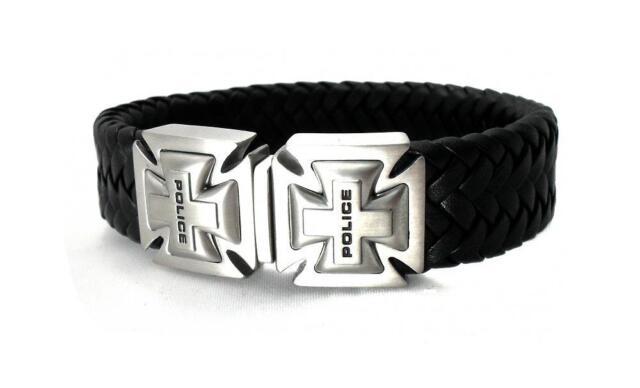 POLICE Herren Leder Band Armband geflochten Edelstahl schwarz PJ24697BLB.01-S
