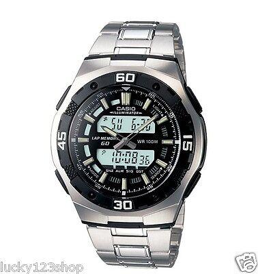 AQ-164WD-1A Black Casio Men's Watch 100M Stopwatch Stainless Steel