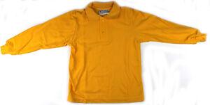 Long-Sleeve-Kids-Polo-Shirt-Gold-Size-6-8-10-12-14-16-Australian-Made-New