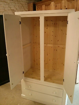 100% Quality Aylesbury Pine Shabby Chic Gents 2 Drawer Wardrobe Cream Med Oak No Flat Packs To Ensure A Like-New Appearance Indefinably Armoires & Wardrobes