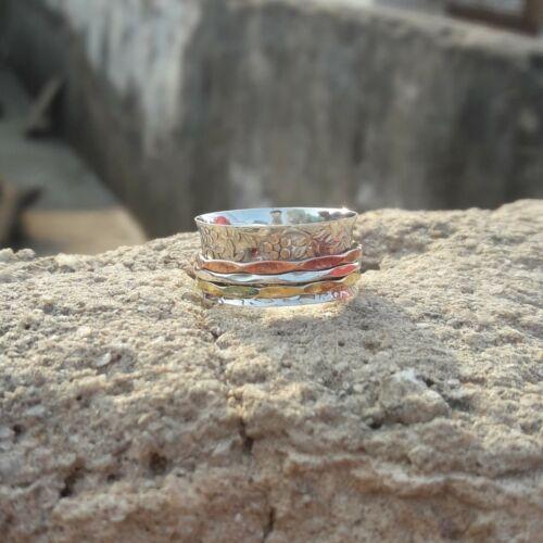 Solid 925 Sterling Silver Spinner Ring Meditation Statement Ring Size sr24454