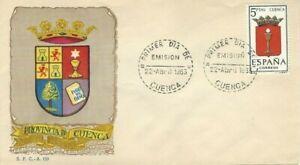 FDC-Erste-Dia-Spanien-1963-Wappen-Waschtischarmatur
