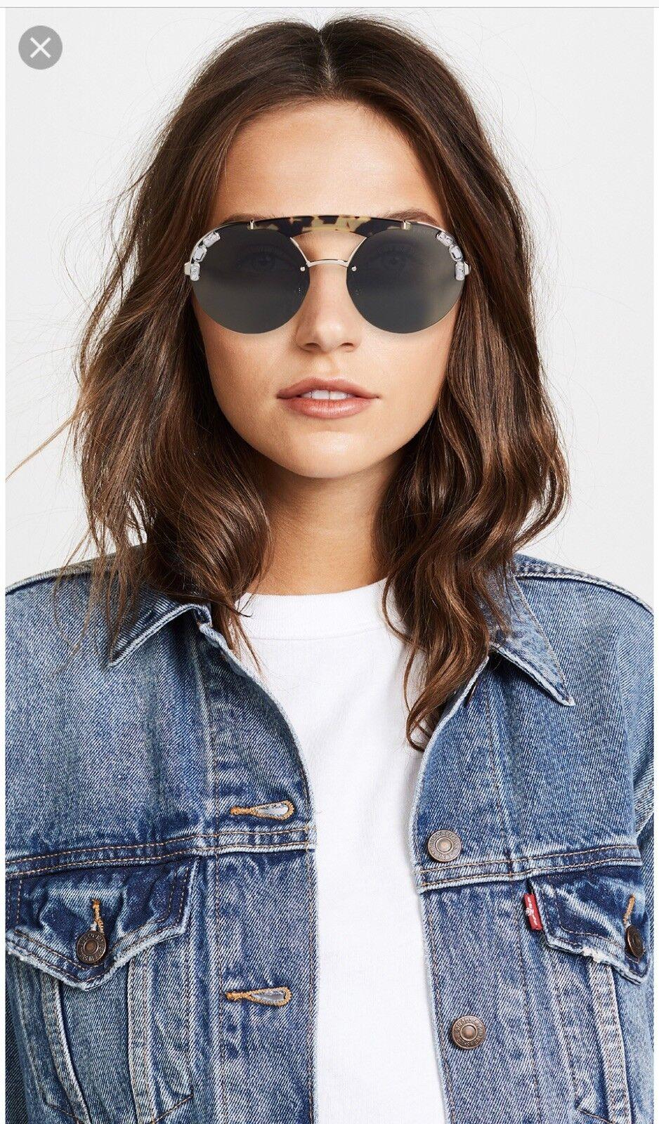 100% Authentic PRADA ORNATE ROUND Brow Pale Gold Havana/Grey sunglasses