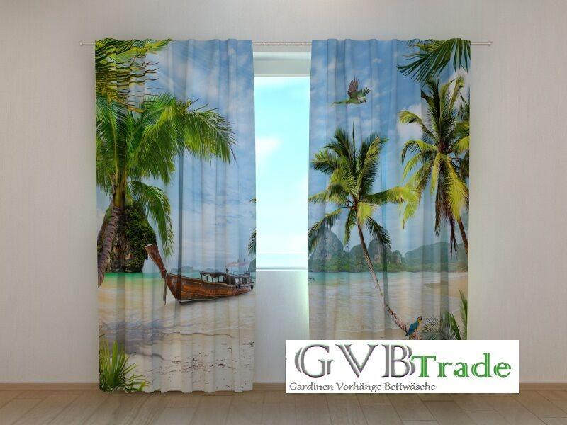 Fotogardine  StrandWunder  Fotovorhang Vorhang Gardine Motiv 3D Qualität Qualität Qualität auf Maß | Praktisch Und Wirtschaftlich  49f316