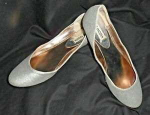c14a44cc22f Details about Steven Madden P-Heaven Silver Glitter Ballet Flats sz 6.5M