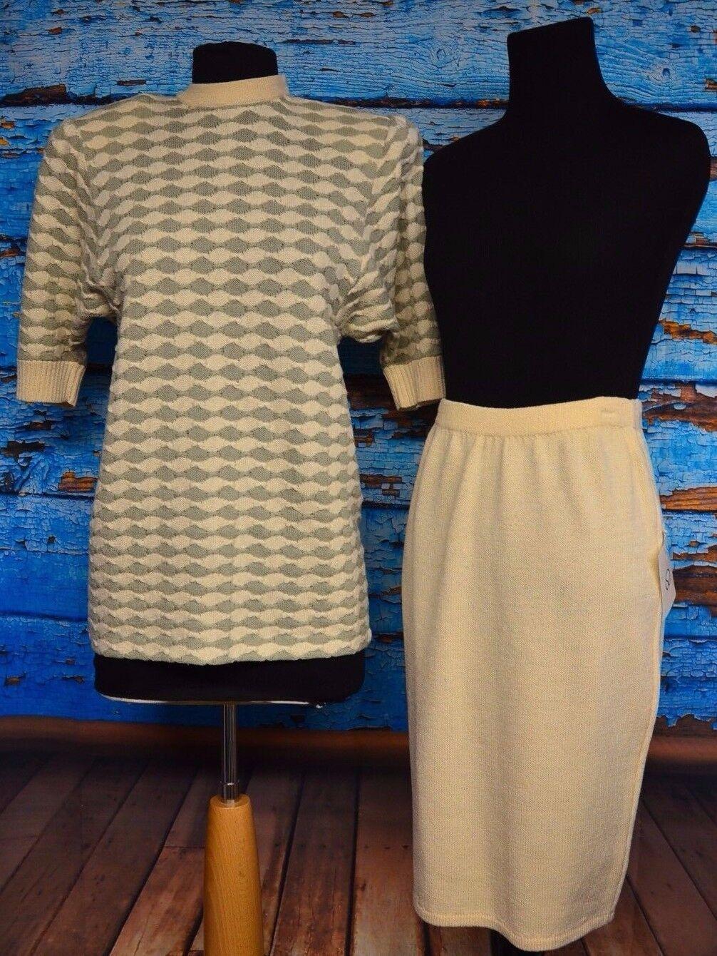 VTG St. John Sz 2 Women's Knit Skirt Suit USA Wool Cotton Bld Parchment Cypress