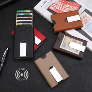 Hand-Pull-Pop-Up-Metal-Wallet-Money-Clip-RFID-Blocking-Credit-Card-Holder-Case