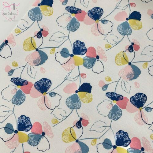 John Louden Multi Pansy Floral Cotton Polyester Elastane Fleece Backed Jersey Fa