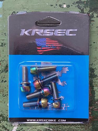 Steel Titanium Plated MTB Road Stem Bolt Kit Gold Rainbow Oil Slick M5 M6 x 18mm