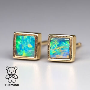 Details About Small Minimalist Square Australian Doublet Opal Stud Earrings 14k Yellow Gold