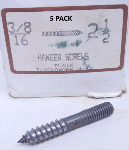 """5 PACK ES 3//8/""""-16 x 2-1//2/"""" HANGER BOLT UNPLATED STEEL 7//8/"""" MACHINE THREAD"""