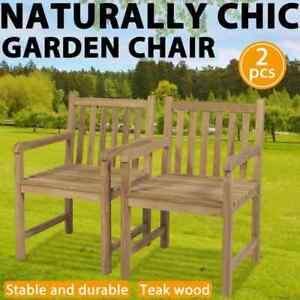 vidaXL 2x Teak Outdoor Chairs 58x60x90cm Garden Patio Furniture Seat Armchair
