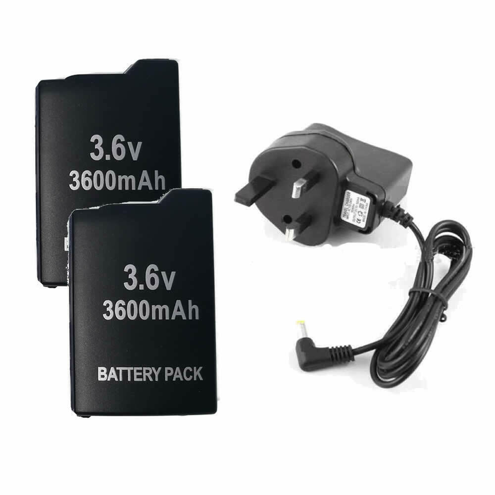 2 Battery for Sony PSP-110 PSP1000 1001 +UK AC Adapter Wall Charger Power Supply