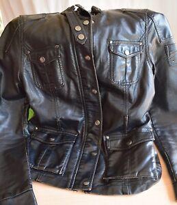 Details zu Damen Leder Jacke Lederjacke Übergang schwarz GR M Sugar & Spice Used Look