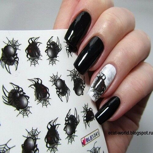 2 Sheets Nail Water Decal Halloween Spider Nail Art Transfer Sticker