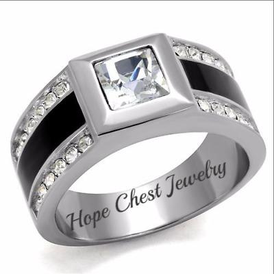 HCJ Stainless Steel Black Enamel Men/'s CZ Masonic Ring Size 8-13