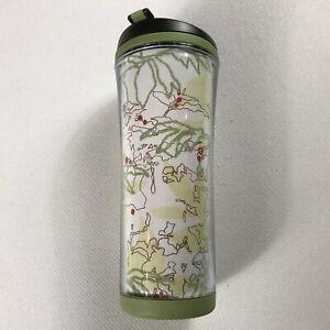 Starbucks-Coffee-Tumbler-Mug-12oz-Travel-Green-2008-Trees-Floral-Leaves-Abstract