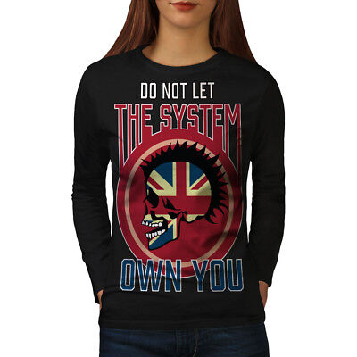 Buono Wellcoda Il Sistema Da Donna Manica Lunga T-shirt, Anarchy Casual Design-mostra Il Titolo Originale