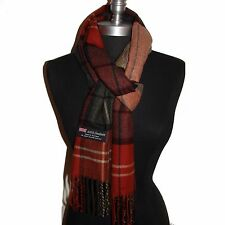 New 100% Cashmere Scarf Rust/Camel check Plaid Wool Soft Unisex #W09 Warm
