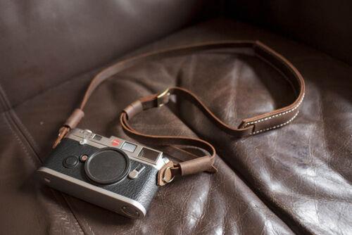 Genuine vera Pelle MacChina Fotografica Spalla Tracolla per Fotocamera Pellicola malvagio Marrone 155