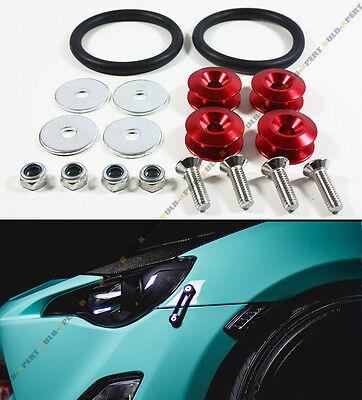 Red Uinversal JDM Quick Release Fasteners Fender Trunk Bumpers Hatch Lids Kit