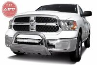 Apu Fits 09-15 Dodge Ram 1500 3.5 Oval Bull Bar Stainless With Led Light Bar