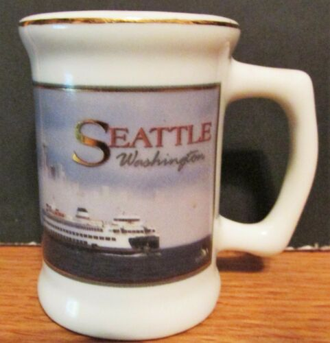 SEATTLE, WASHINGTON CITY SKYLINE, PUGET SOUND, CERAMIC MINI STEINSHOT GLASS