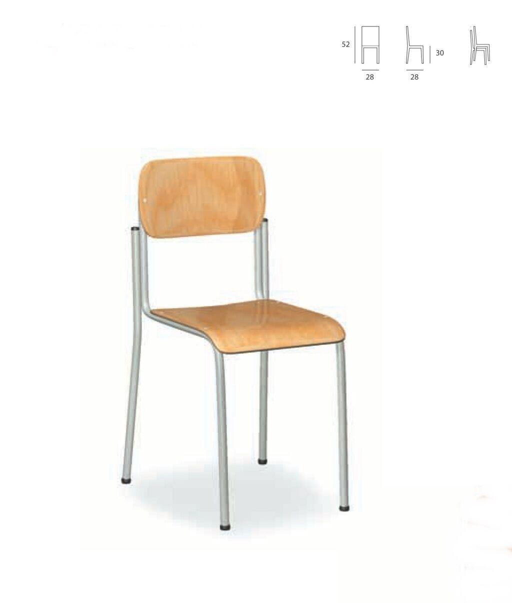 Sedia Asilo Bambino Scuola in Legno Faggio  L 28 P 28 altezza seduta 30 altezza