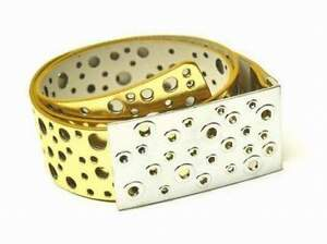 Damenmode Kleidung & Accessoires Neu 110cm Damen GÜrtel Goldfarben LackgÜrtel DamengÜrtel Lochmuster Lackleder