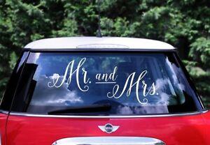 XXL-CAR-STICKER-MR-amp-MRS-Auto-Aufkleber-Hochzeit-Brautpaar-Verheiratet-Autodeko