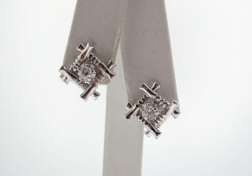 Genuine Diamonds WOODLOG Solid 14K White gold STUD Earrings