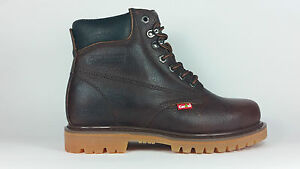 "Cactus Work Boots 625 Dark Brown Real Leather 6 "" Men Sizes New In Box"