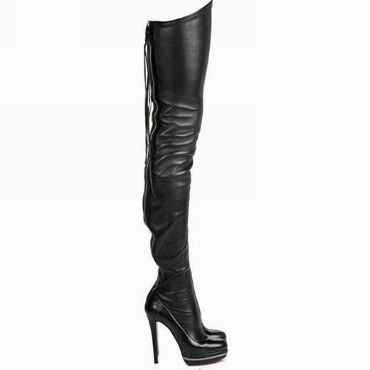 Mujer alto Gladiador Cuero real Gótico Stiletto Zapato de alto Mujer del muslo sobre la rodilla alta botas 80e3a1