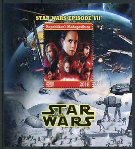 Madagascar-2018-CTO-Star-Wars-Force-Awakens-Rey-Kylo-Ren-Luke-1v-M-S-Stamps