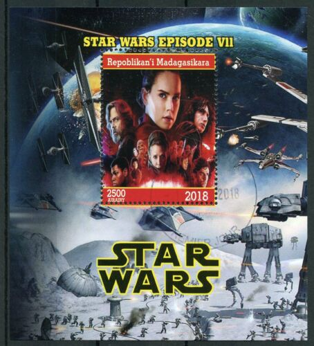 Madagascar 2018 CTO Star Wars Force Awakens Rey Kylo Ren Luke 1v M//S Stamps