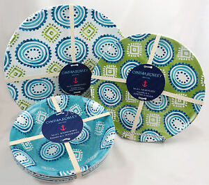 Image is loading Cynthia-Rowley-12-pc-Modern-melamine-bowls-dinner- & Cynthia Rowley 12 pc Modern melamine bowls dinner side salad plates ...
