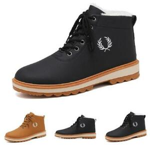 Mens Fur Lined Warm Non-slip Zip Casual Winter Snow Outdoor Ankle Boots Shoes B