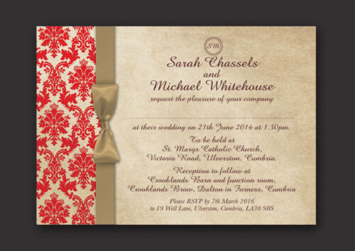 DAMASK PERSONALISED WEDDING DAY /& EVENING INVITATIONS WITH ENVELOPES /& P/&P