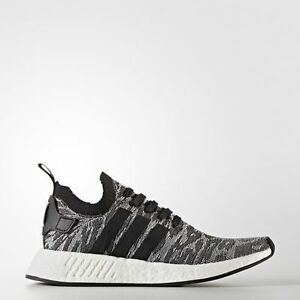 NEW-MEN-039-S-ADIDAS-NMD-R2-PRIMEKNIT-SHOES-BY9409-BLACK-BLACK-WHITE