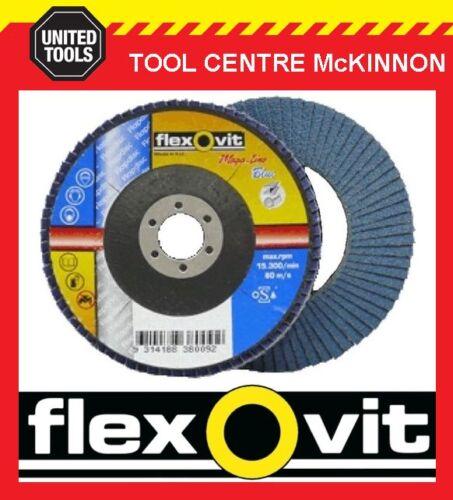"100mm x 5//8"" 16mm ZIRCONIA MEGA-LINE BLUE FLAP DISC FLEXOVIT #60 GRIT 4"""