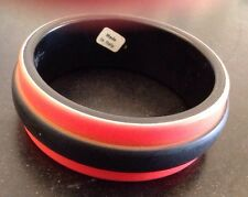 Made In Italy Red & Black Plastic Chunky Bangle Bracelet Vintage Estate